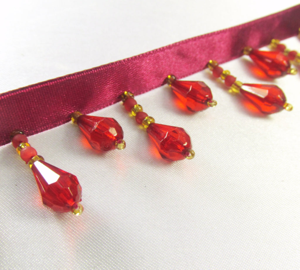 Dark Red and Gold Alternating Short Beaded Fringe Trim-Beaded Fringe-1 yard-Odyssey Cache