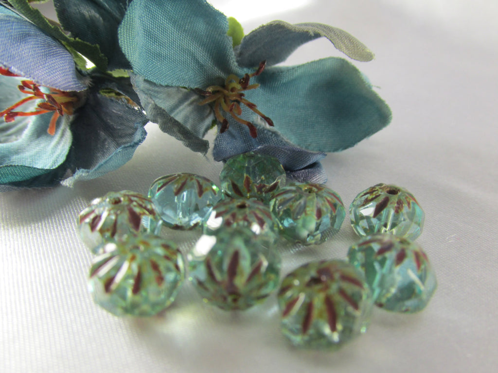 Aqua Green Light Brown Picasso Czech Glass 9x6mm Faceted Carved Cruller Rondelles (10) - Odyssey Cache