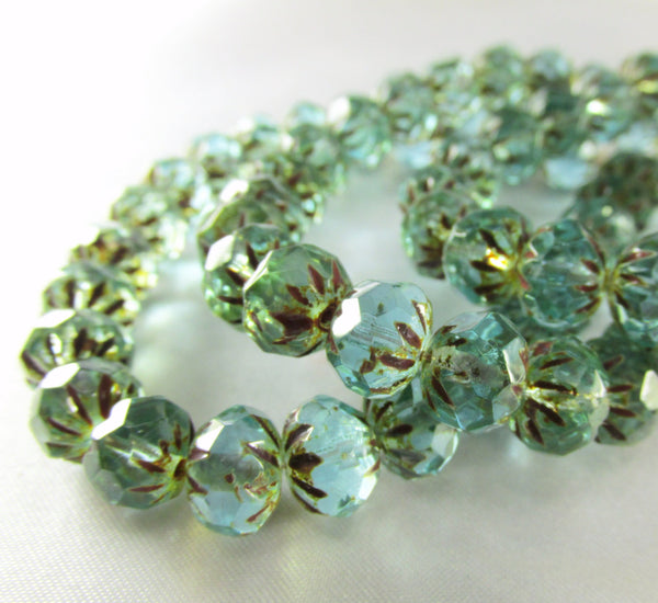 Aqua Green Picasso Czech Glass 9mm x 6mm Faceted Carved Cruller Rondelles-Czech Glass-Odyssey Cache