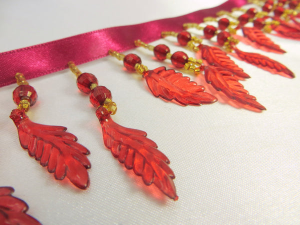 SALE - Burgundy Red Autumn Leaves Medium Beaded Fringe Trim - Odyssey Cache