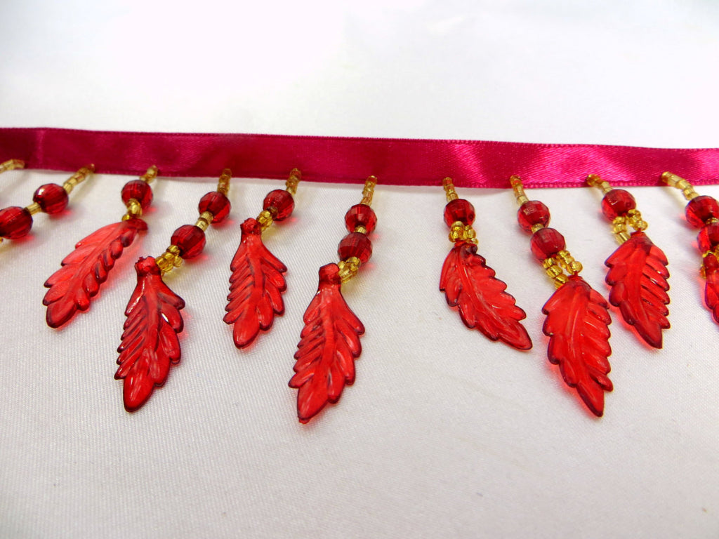 SALE - Burgundy Red Autumn Leaves Medium Beaded Fringe Trim-Beaded Fringe-Yard-Odyssey Cache
