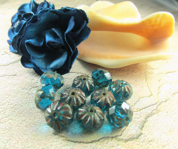 Turquoise Picasso Czech 9mm x 6mm Carved Crullers-Czech Glass-10 beads-Odyssey Cache