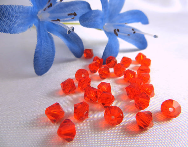 Hyacinth Orange Red Swarovski 5301 5mm Bicones (25)-Jewelry Beads-Odyssey Cache