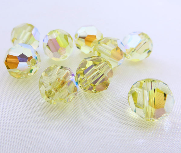 Yellow Light Jonquil AB Swarovski 8mm Round Beads (6) - Odyssey Cache
