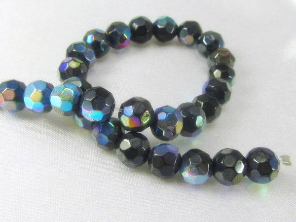 Jet Black AB 6mm Round Faceted Glass Beads - 8 inch 36 beads-Jewelry Beads-Odyssey Cache