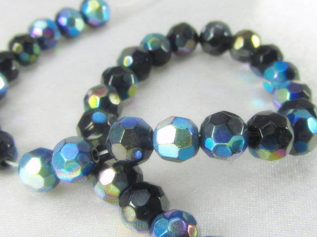 Jet Black AB 6mm Round Faceted Glass Beads - 8 inch 36 beads - Odyssey Cache