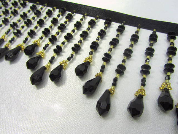 Black and Gold Graduated 3.5 inch Medium Beaded Fringe-Beaded Fringe-1/2 yard-Odyssey Cache