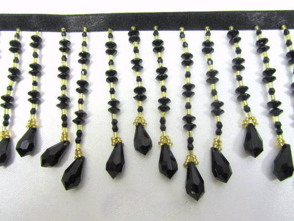 Black and Gold Graduated 3.5 inch Medium Beaded Fringe-Beaded Fringe-1 yard-Odyssey Cache
