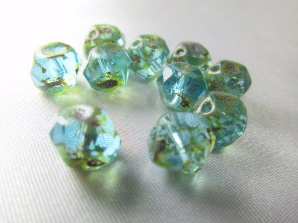Green Aqua Picasso Central Cut Czech Rondelles (10)-Czech Glass-Odyssey Cache