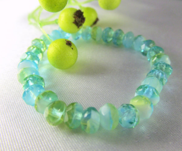 Aqua Lime Green and White Czech faceted 5mm rondelles (30) - Odyssey Cache
