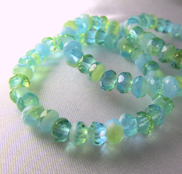 Aqua Lime Green and White Czech faceted 5mm rondelles (30)-Jewelry Beads-Odyssey Cache