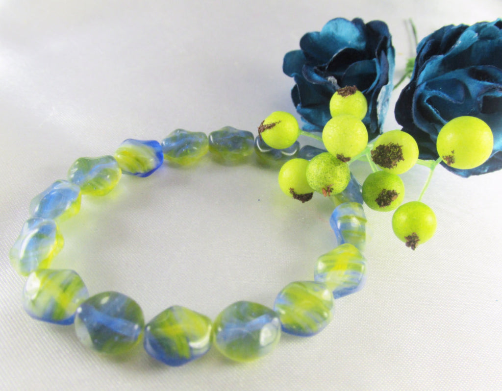 Blue and Green 9mm x 6mm  Bumpy Czech Glass Beads (16) - Odyssey Cache