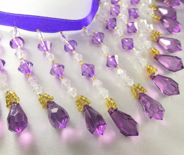 Purple Rain - Purple, Clear & Gold Medium Beaded Fringe-Beaded Fringe-Yard-Odyssey Cache