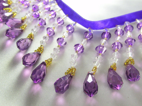 Purple Rain - Purple, Clear & Gold Medium Beaded Fringe-Beaded Fringe-1/2 Yard-Odyssey Cache