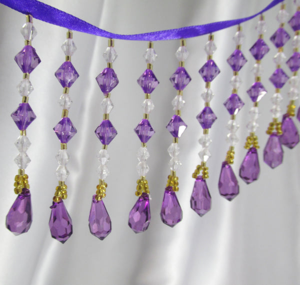 Purple Rain - Purple, Clear & Gold Medium Beaded Fringe-Beaded Fringe-Odyssey Cache
