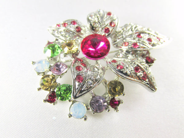 Multicolor Pink, Green, Yellow and White on Silver Flower Brooch - Odyssey Cache