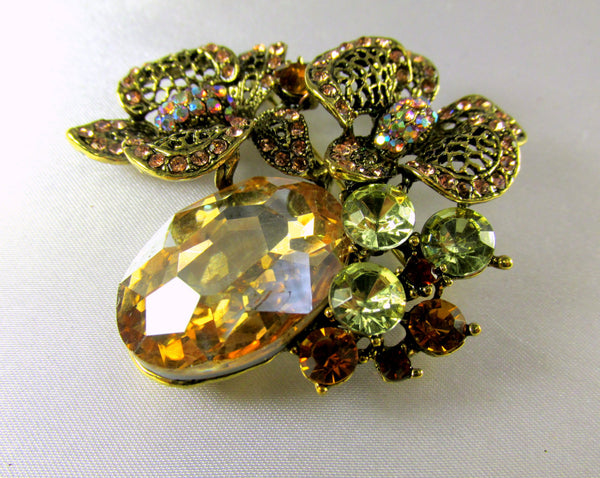 Light Topaz Antique Gold Cluster Brooch-Brooch-Odyssey Cache