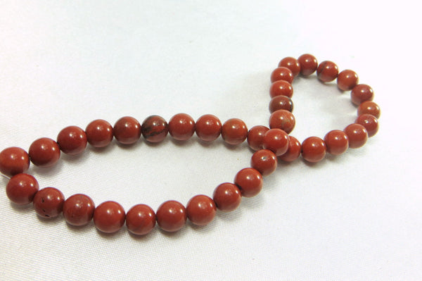 Red Jasper Stone 6mm Round Dark Rust Red Beads (36)-Jewelry Beads-Odyssey Cache