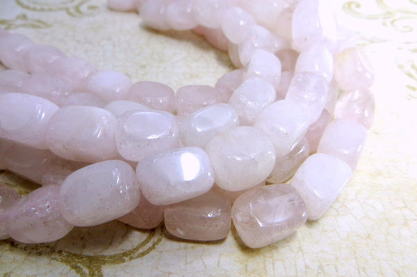 Rose Quartz 10mm x 12mm Rectangular Nuggets (10)-Jewelry Beads-Odyssey Cache