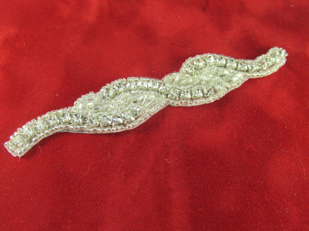 Long Thin Clear Silver Rhinestone Applique-Appliques-Odyssey Cache