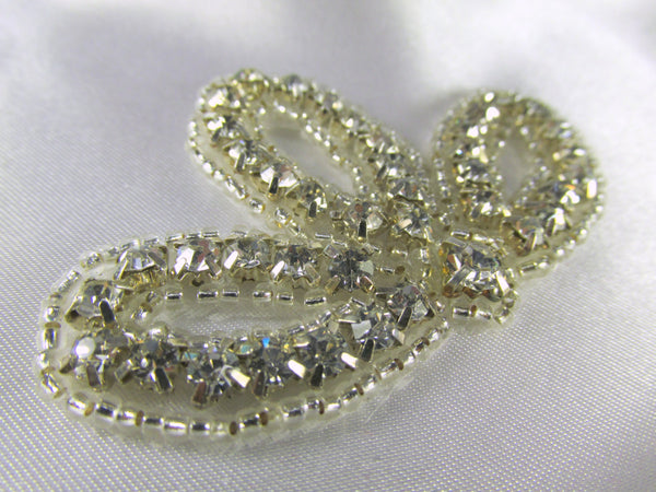 Clear Silver Rhinestone Bud Applique-Appliques-Default Title-Odyssey Cache