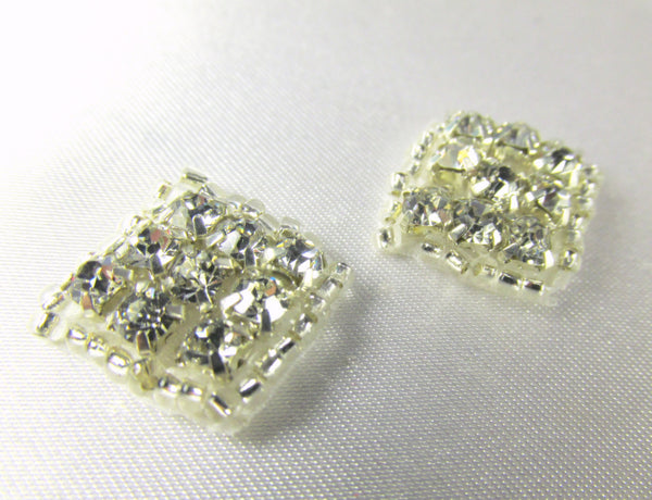 Two Clear Silver 1/2 inch Diamond Rhinestone Appliques - Odyssey Cache