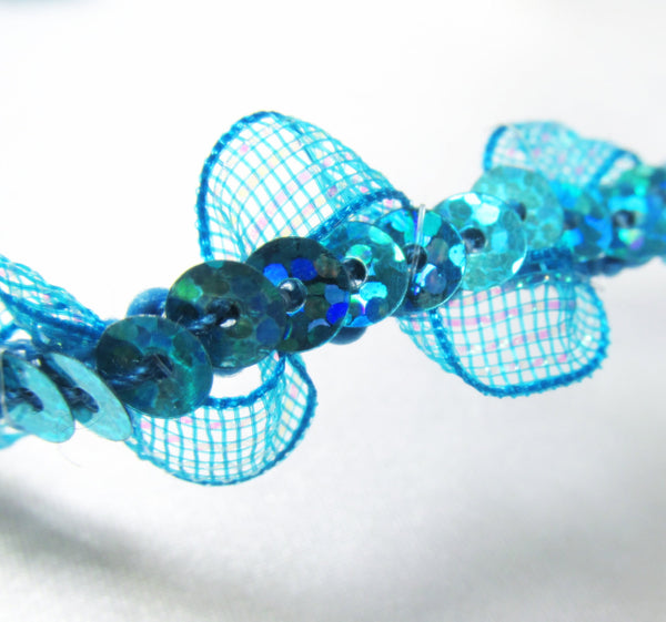 Wavy Irridized Mesh Single Sequined 1/2 inch Sequined Trim-Trims-Turquoise-Odyssey Cache