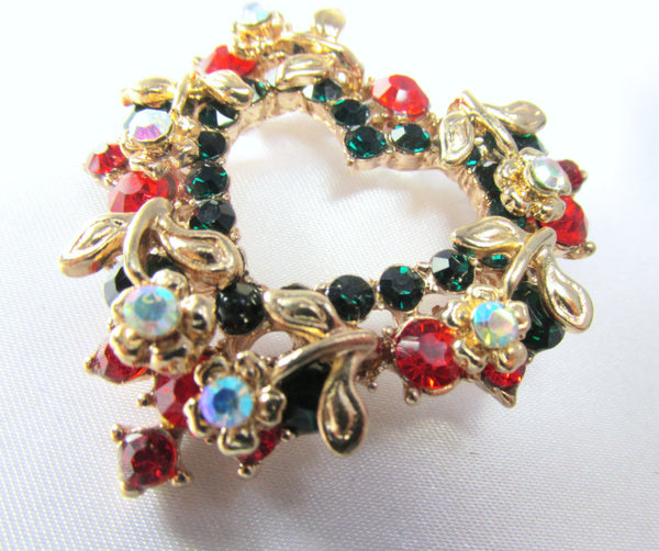 Christmas Heart Wreath Brooch in Green, Red, Crystal AB and Gold-Brooch-Default Title-Odyssey Cache