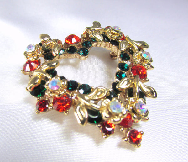 Christmas Heart Wreath Brooch in Green, Red, Crystal AB and Gold - Odyssey Cache