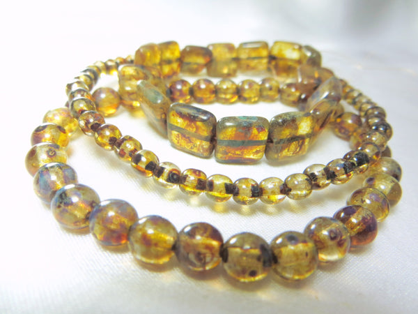 Golden Brown Amber Picasso Czech Glass 4mm Round Druks (50)-Czech Glass-Odyssey Cache