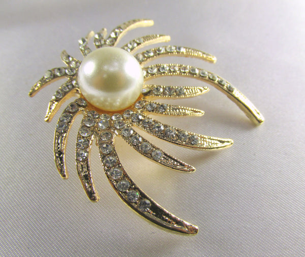 Ivory White Pearl and Clear Crystals on Gold Sunburst Brooch-Brooch-Odyssey Cache