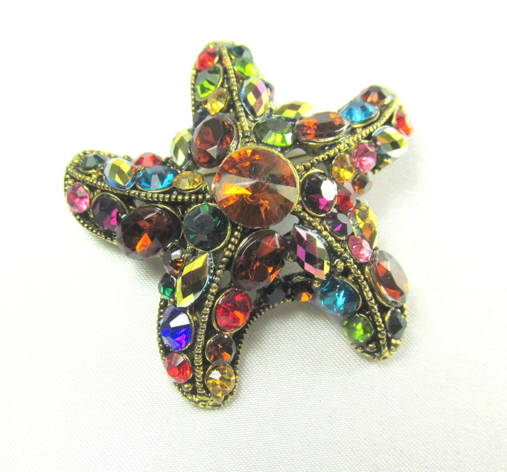 Multicolor Starfish Brooch in Antique Gold - Odyssey Cache