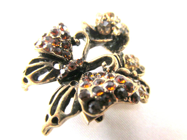 Small Amber Topaz Crystal Butterfly Brooch in Antique Gold-Brooch-Default Title-Odyssey Cache