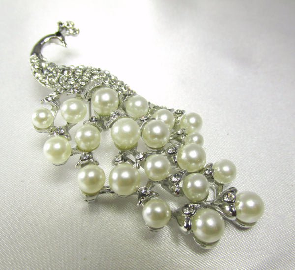 Silver and White Pearl Peacock 3 Inch Brooch-Brooch-Default Title-Odyssey Cache
