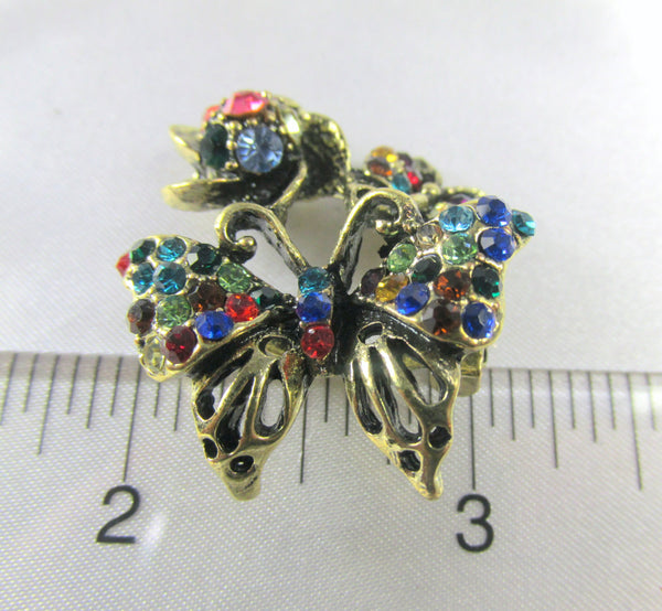 Small Amber Topaz Crystal Butterfly Brooch in Antique Gold - Odyssey Cache