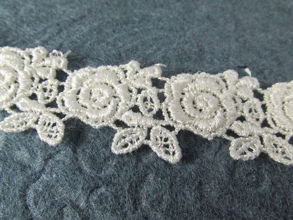 White or Ivory Rose Venise Lace Trim 1 inch wide-Venise Lace-Odyssey Cache
