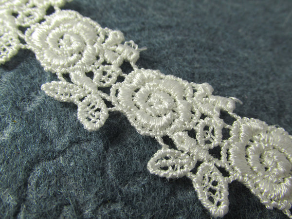 White or Ivory Rose Venise Lace Trim 1 inch wide-Venise Lace-Ivory-Odyssey Cache