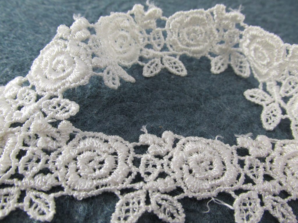 White or Ivory Rose Venise Lace Trim 1 inch wide-Venise Lace-White-Odyssey Cache