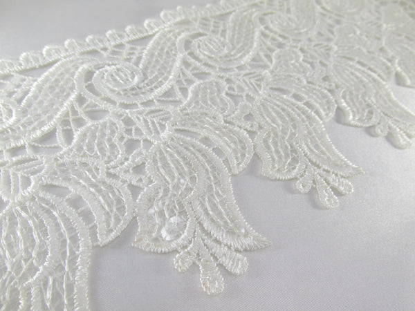 White Lily Venise Lace Trim with Clear Sequins-Trims-Default Title-Odyssey Cache
