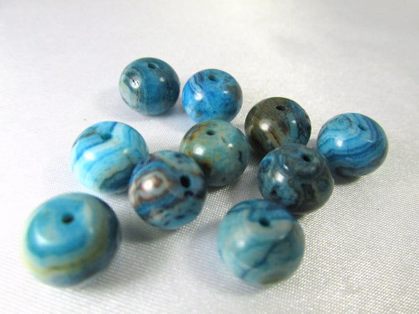 Crazy Blue Lace Agate Semiprecious Stone 10mm x 8mm Smooth Rondelles - Odyssey Cache