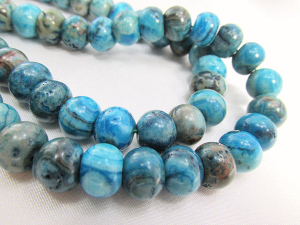 Crazy Blue Lace Agate Semiprecious Stone 10mm x 8mm Smooth Rondelles-Jewelry Beads-Odyssey Cache