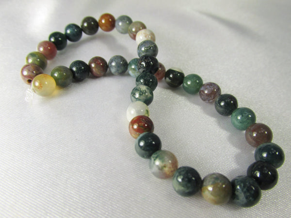 Indian Agate Multicolor Stone 6mm to 7mm Round Beads (36)-Jewelry Beads-Odyssey Cache