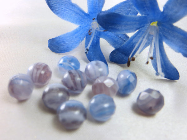 Lavender, Purple, Light Blue White Czech Glass 8mm x 6mm Rondelles (12) - Odyssey Cache - 2