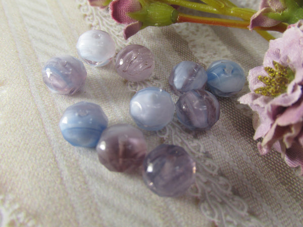 Lavender, Purple, Light Blue White Czech Glass 8mm x 6mm Rondelles (12) - Odyssey Cache - 3