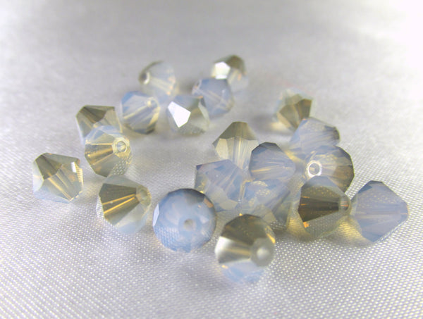 White Opal Satin Light Blue Swarovski #5301 6mm Bicones (20) - Odyssey Cache