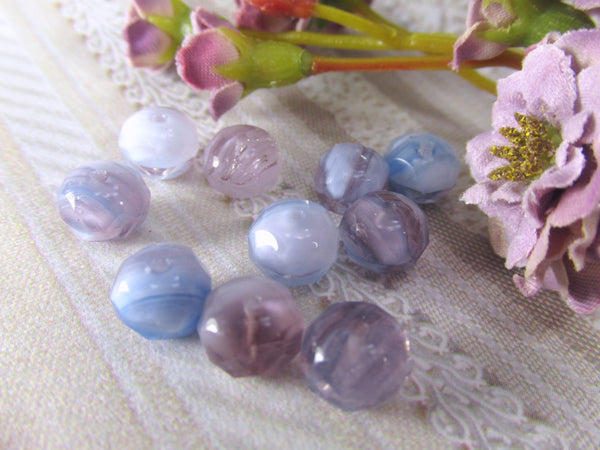 Lavender, Purple, Light Blue White Czech Glass 8mm x 6mm Rondelles (12) - Odyssey Cache - 1