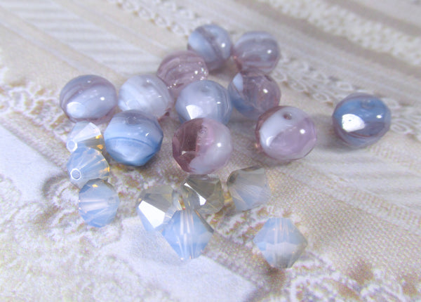 Lavender, Purple, Light Blue White Czech Glass 8mm x 6mm Rondelles (12) - Odyssey Cache - 5