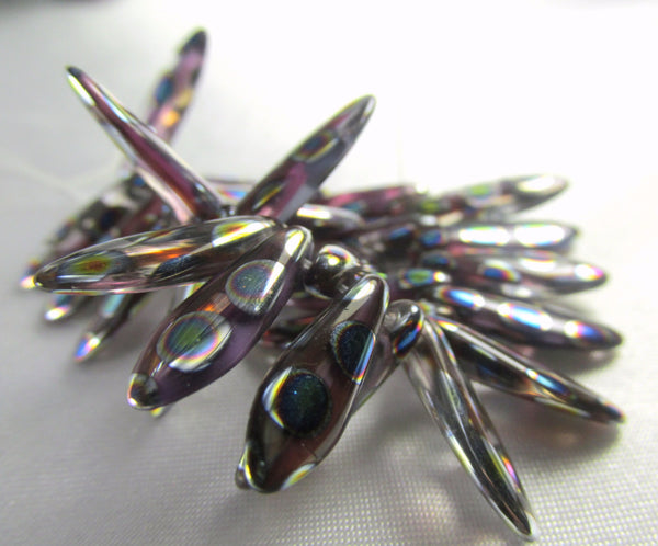 Lavender Peacock Czech Glass 5mm x 15mm Daggers (25 beads)-Jewelry Beads-25 beads (1/2 strand)-Odyssey Cache