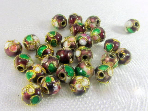 Brown Cloisonne 9mm Round Flower Jewerly Beads (12) - Odyssey Cache