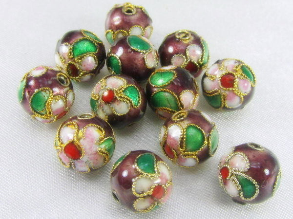 Brown Cloisonne 9mm Round Flower Jewerly Beads (12)-Jewelry Beads-Odyssey Cache